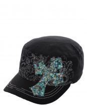 KBV1014(BK)-wholesale-cadet-cap-stitched-printed-floral-rhinestone-beads-patch-cross-velcro-closure-embroidered(0).jpg