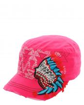 KBV1018(HPK)-wholesale-cadet-cap-indian-vintage-torn-rhinestone-aztec-embroidered-stitched-triangle-velcro--(0).jpg