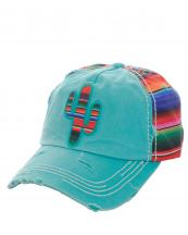 KBV1053(TQ)-wholesale-baseball-cap-serape-cactus-multicolor-stripe-vintage-torn-stitched-velcro-cotton-hat-(0).jpg