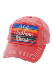 KBV1070(RD)-W02-wholesale-baseball-cap-hot-southern-mess-embroidered-serape-vintage-torn-stitch-cotton-velcro(0).jpg