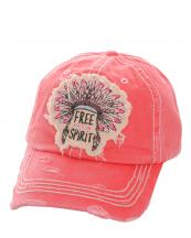 KBV1076(HPK)-wholesale-baseball-cap-free-spirit-indian-chief-headdress-arrow-vintage-torn-stitches-cotton-velcro-(0).jpg