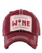 KBV1126(BUR)-W96-wholesale-cap-embroidery-sometimes-wine-glass-necessary-vintage-torn-baseball-hook-loop-cotton(0).jpg