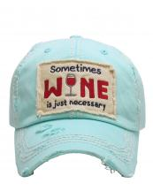 KBV1126(DBL)-wholesale-cap-embroidery-sometimes-wine-glass-necessary-vintage-torn-baseball-hook-loop-cotton(0).jpg