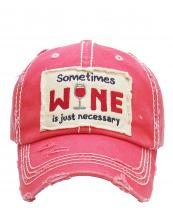 KBV1126(HPK)-wholesale-cap-embroidery-sometimes-wine-glass-necessary-vintage-torn-baseball-hook-loop-cotton(0).jpg