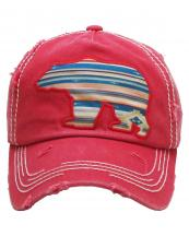 KBV1156(RD)-wholesale-cap-bear-serape-aztec-multi-color-fabric-washed-vintage-torn-stitch-baseball-cotton-brim(0).jpg