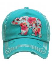 KBV1157(TQ)-wholesale-cap-bear-floral-multi-color-fabric-washed-vintage-torn-stitch-baseball-cotton-brim(0).jpg