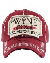 KBV1173(BUR)-wholesale-cap-baseball-wine-glass-clock-somewhere-embroidered-vintage-torn-stitch-cotton-washed(0).jpg