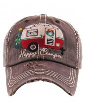 KBV1185(BR)-wholesale-cap-baseball-christmas-happy-camper-camping-trailer-lights-wreath-tree-embroidered-vintage(0).jpg