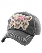 KBV1193(BK)-wholesale-cap-steer-longhorn-head-skull-floral-feather-beads-embroidery-washed-baseball-vintage-torn(0).jpg