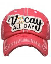KBV1355(HPK)-wholesale-baseball-cap-vacay-all-day-embroidered-vintage-torn-stitch-cotton-velcro-adjustable(0).jpg