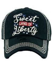 KBV1383(BK)-wholesale-baseball-cap-sweet-land-of-liberty-embroidered-vintage-cotton-velcro-adjustable(0).jpg