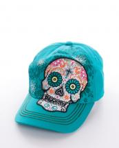 KBV971(TQ)-wholesale-rhinestones-cross-cap-embroidered-sugar-skull-premium-cadet-floral-flower-(0).jpg