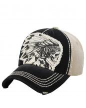 KBVT597(BKKHA)-W06-wholesale-baseball-cap-skull-indian-feather-headdress-two-tone-vintage-torn-stitched-cotton-(0).jpg