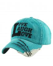 KBVT649(TQ)-W03-wholesale-baseball-cap-live-laugh-love-vintage-torn-stitch-embroidered-brim-cotton-moment-day-word(0).jpg