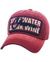 KBVT767(BUR)-wholesale-cap-baseball-cheers-save-water-drink-wine-lurex-metallic-embroidered-leatherette-brim(0).jpg