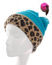 KBW7023H(TQ)-wholesale-beanie-leopard-ponytail-animal-pattern-knitted-fold-up-stretch-one-size-acrylic-messy-bun-(0).jpg