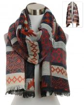 KK306(BK)-wholesale-scarf-wrap-shawl-long-behemian-aztec-tribal-southwestern-pattern-multi-color-knit-fringe(0).jpg