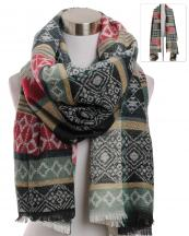 KK306(GN)-wholesale-scarf-wrap-shawl-long-behemian-aztec-tribal-southwestern-pattern-multi-color-knit-fringe(0).jpg