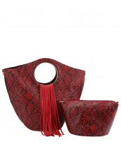 L0221(RD)-(SET-2PCS)-wholesale-handbag-pouch-bag-fringe-snake-animal-pattern-vegan-leatherette-gold-metal-ringe-handle(0).jpg