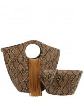 L0221(TAN)-(SET-2PCS)-wholesale-handbag-pouch-bag-fringe-snake-animal-pattern-vegan-leatherette-gold-metal-ringe-handle(0).jpg