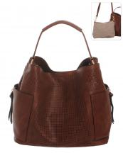 LB105(BR)-wholesale-handbag-leatherette-tote-pouch-bag-solid-color-punched-pockets-zipper-fabric(0).jpg