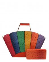 LD1311W(OR)-wholesale-handbag-set-2pcs-wallet-alligator-ostrich-animal-pattern-multicolor-shell-shape-vegan-gold(0).jpg