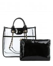 LH088(BK)-(SET-2PCS)-wholesale-handbag-pouch-bag-set-clear-see-thru-transparent-pvc-patent-leatherette-gold-chain-solid(0).jpg