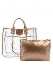 LH088(GD)-(SET-2PCS)-wholesale-handbag-pouch-bag-set-clear-see-thru-transparent-pvc-patent-leatherette-gold-chain-solid(0).jpg