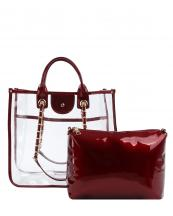 LH088(RD)-(SET-2PCS)-wholesale-handbag-pouch-bag-set-clear-see-thru-transparent-pvc-patent-leatherette-gold-chain-solid(0).jpg