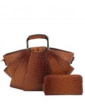 LHU1971W(BR)-(SET-2PCS)-wholesale-handbag-wallet-alligator-ostrich-vegan-leatherette-layered-shell-shaped-gold-metal-handle(0).jpg