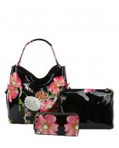 LHU2042W(BK)-(SET-3PCS)-wholesale-handbag-pouch-bag-wallet-floral-butterfly-zipper-patent-vegan-pearl-graphic-rhinestone(0).jpg