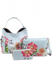 LHU2042W(SBL)-(SET-3PCS)-wholesale-handbag-pouch-bag-wallet-floral-butterfly-zipper-patent-vegan-pearl-graphic-rhinestone(0).jpg