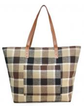 LOA318(BK)-wholesale-tote-bag-Plaid-beach-bag-Inside-wall-pocket-polyester-cotton(0).jpg