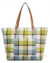 LOA318(GR)-wholesale-tote-bag-Plaid-beach-bag-Inside-wall-pocket-polyester-cotton(0).jpg