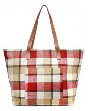 LOA318(RD)-wholesale-tote-bag-Plaid-beach-bag-Inside-wall-pocket-polyester-cotton(0).jpg