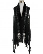 LOF585(BK)-wholesale-vest-faux-fur-collar-knitted-fringe-solid-color-button-closure-draped-style-acrylic-mesh-(0).jpg