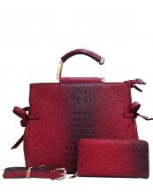 LQ0871W(BUR)-wholesale-handbag-wallet-2pc-set-alligator-ostrich-leatherette-gold-metal-handle-double-zipper-strap(0).jpg
