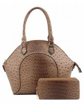 LQ1192W(TAN)-(SET-2PCS)-wholesale-handbag-wallet-2pc-set-alligator-ostrich-animal-pattern-vegan-leather-double-zipper-layer(0).jpg
