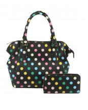 LQ1811W(BK)-wholesale-polka-dot-handbag-set-multi-changing-pad-initial-embroidered-(0).jpg