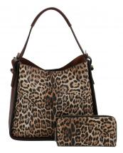 LSJ0161W(BR)-(SET-2PCS)-wholesale-handbag-wallet-leopard-animal-pattern-vegan-leatherette-colored-strap-compartments-pocket-(0).jpg