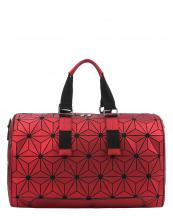 LYX005(RD)-wholesale-duffle-bag-geometric-mosaic-pattern-leatherette-faux-leather-canvas-black-solid-strap(0).jpg