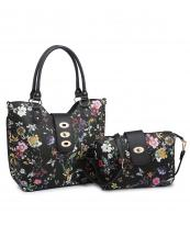 MF3001C(BKBK)-(SET-2PCS)-wholesale-handbag-wallet-floral-print-flap-over-strap-faux-leatherette-gold-hardware-wristlet-set(0).jpg
