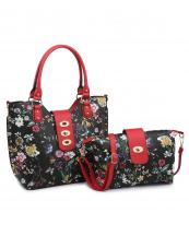 MF3001C(BKRD)-(SET-2PCS)-wholesale-handbag-wallet-floral-print-flap-over-strap-faux-leatherette-gold-hardware-wristlet-set(0).jpg