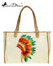 MW7348112(TAN)-MW-wholesale-handbag-native-american-paint-canvas-graphic-pu-leather-trim-indian-chief-headdress(0).jpg