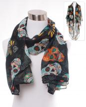OF0101(BK)-S33-wholesale-sugar-skull-flower-diamond-pattern-scarf-polyester(0).jpg