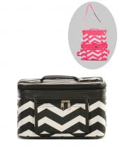 PBC02(BK)-wholesale-chevron-cosmetic-bag-2pc-set-mirror-brush-holder(0).jpg