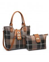 PC3001A(TPBR)-(SET-2PCS)-wholesale-handbag-wallet-plaid-checkered-flap-over-strap-faux-leatherette-gold-hardware-wristlet-set(0).jpg
