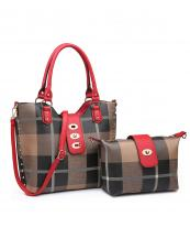 PC3001A(TPRD)-(SET-2PCS)-wholesale-handbag-wallet-plaid-checkered-flap-over-strap-faux-leatherette-gold-hardware-wristlet-set(0).jpg