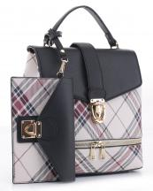 PL1045S(BK)-wholesale-vegan-leatherette-handbag-set-plaid-style-design-wallet-metal-tap-closer-backpack-style(0).jpg