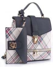 PL1045S(NV)-wholesale-vegan-leatherette-handbag-set-plaid-style-design-wallet-metal-tap-closer-backpack-style(0).jpg